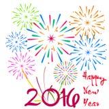 Gelukkig Nieuwjaar 2016 met vuurwerkachtergrond Stock Afbeeldingen