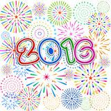 Gelukkig Nieuwjaar 2016 met vuurwerkachtergrond Royalty-vrije Stock Afbeeldingen