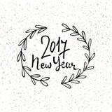 Gelukkig Nieuwjaar 2017 modern het van letters voorzien ontwerp Nieuwe de vakantiekaart van de jaargroet Vectorhand getrokken fee Royalty-vrije Stock Foto's