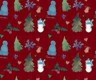 Gelukkig Nieuwjaar Naadloos Patroon, het thema van de Kerstmiswinter, Mooie Waterverfachtergrond stock illustratie