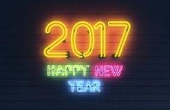 Gelukkig Nieuwjaar 2017 neonlichten Stock Foto's