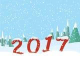 Gelukkig Nieuwjaar 2017 Nieuwe jaaraantallen in een sneeuwbos vector illustratie
