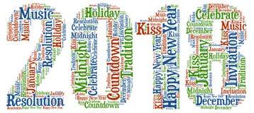 Gelukkig Nieuwjaar - Nieuwjaarviering met koele verwoording Royalty-vrije Stock Foto's