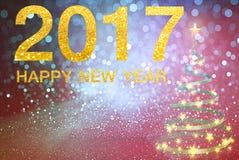 Gelukkig Nieuwjaar 2017 op abstracte achtergrond Stock Foto's
