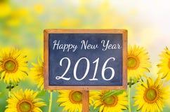 Gelukkig Nieuwjaar 2016 op bord Stock Afbeeldingen