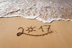 Gelukkig Nieuwjaar 2017 op het strand Royalty-vrije Stock Fotografie