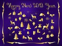 Gelukkig Nieuwjaar 2019 Reeks Kerstmis en Nieuwjaarelementen, hand getrokken stijl - dieren en andere elementen prentbriefkaar vector illustratie
