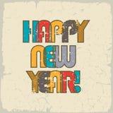 Gelukkig Nieuwjaar Retro achtergrond, vrolijke en mooie inschrijving van kleuren overlappende brieven Het uitstekende effect kan  stock illustratie