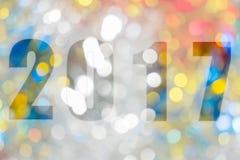 Gelukkig Nieuwjaar 2017 in Samenvatting bokeh van licht Stock Afbeeldingen