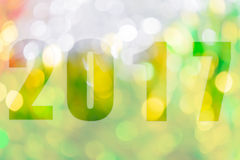 Gelukkig Nieuwjaar 2017 in Samenvatting bokeh van licht Stock Foto