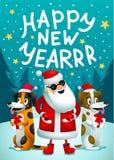Gelukkig Nieuwjaar Santa Claus en 2 grappige honden met giften Kerstmis hipster affiche voor partij met Vrolijke Christmass stock illustratie