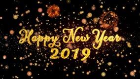 Gelukkig Nieuwjaar 2019 schitteren de Abstracte deeltjes en de kaarttekst van de vuurwerkgroet vector illustratie