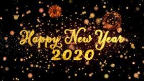 Gelukkig Nieuwjaar 2020 schitteren de Abstracte deeltjes en de kaarttekst van de vuurwerkgroet vector illustratie