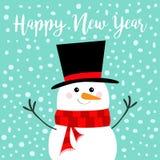 Gelukkig Nieuwjaar Sneeuwman, wortelneus, zwarte hoed, rode sjaal Vrolijke Kerstmis Het leuke karakter van beeldverhaal grappige  royalty-vrije illustratie
