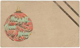 Gelukkig Nieuwjaar Uitstekende prentbriefkaar gestileerde groetkaart royalty-vrije illustratie