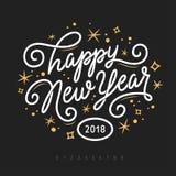 Gelukkig Nieuwjaar 2018 van letters voorziend malplaatje De kaart van de groet of uitnodiging Vector uitstekende illustratie Stock Fotografie