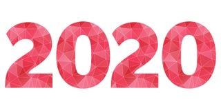 Gelukkig Nieuwjaar 2020 vector rood en roze veelhoekig symbool Stock Afbeelding
