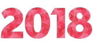 Gelukkig Nieuwjaar 2018 vectorembleem Rood en roze veelhoekig geïsoleerd symbool Stock Fotografie