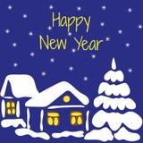 Gelukkig Nieuwjaar Vectorillustratie van een sneeuw behandeld huis en Royalty-vrije Stock Afbeelding