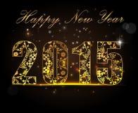 Gelukkig Nieuwjaar 2015, vieringsconcept met gouden teksten Royalty-vrije Stock Foto