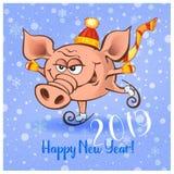 Gelukkig Nieuwjaar 2019 Vrolijk varken met giften Vector vector illustratie