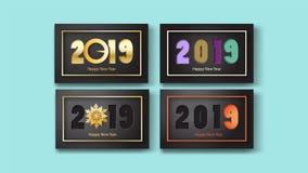 2019 Gelukkig Nieuwjaar of Vrolijke Kerstmis, vectordocument kunststijl stock illustratie