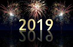 Gelukkig Nieuwjaar 2019 vuurwerk royalty-vrije stock foto's