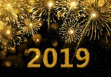 Gelukkig Nieuwjaar 2019 vuurwerk royalty-vrije stock fotografie