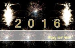 Gelukkig Nieuwjaar 2016 vuurwerk Stock Afbeelding