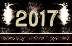 Gelukkig Nieuwjaar 2017 Vuurwerk Royalty-vrije Stock Afbeeldingen