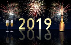 Gelukkig Nieuwjaar 2019 vuurwerk en champagneexplosie stock afbeelding