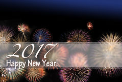 Gelukkig Nieuwjaar 2017 vuurwerkkaart en de tekstgebied van de Webbanner w royalty-vrije stock fotografie