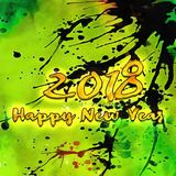 Gelukkig Nieuwjaar 2018 Watercolor/ stock illustratie