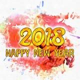 Gelukkig Nieuwjaar 2018 Watercolor/ royalty-vrije illustratie