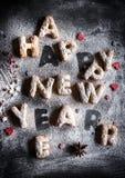 Gelukkig Nieuwjaarconcept met koekjes Royalty-vrije Stock Foto