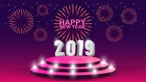 2019 Gelukkig Nieuwjaarmalplaatje met creatief ontwerp als achtergrond voor uw groetenkaart, uitnodiging, affiches, brochure, ban stock illustratie
