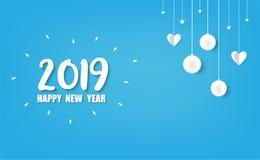 2019 Gelukkig Nieuwjaarskaartontwerp royalty-vrije stock foto