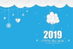 2019 Gelukkig Nieuwjaarskaartontwerp stock afbeeldingen