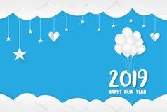 2019 Gelukkig Nieuwjaarskaartontwerp stock foto