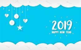 2019 Gelukkig Nieuwjaarskaartontwerp stock afbeelding