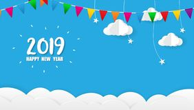 2019 Gelukkig Nieuwjaarskaartontwerp royalty-vrije stock afbeelding