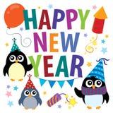 Gelukkig Nieuwjaarthema met pinguïnen stock illustratie