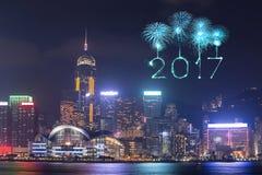 2017 gelukkig Nieuwjaarvuurwerk die over Hong Kong-stad vieren Royalty-vrije Stock Afbeeldingen
