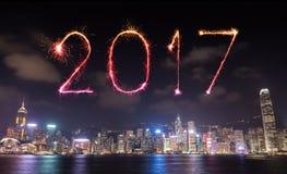 2017 gelukkig Nieuwjaarvuurwerk die over Hong Kong-stad vieren Royalty-vrije Stock Fotografie