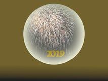 2019 Gelukkig Nieuwjaarvuurwerk in kristallen bol royalty-vrije stock fotografie