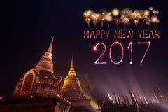 2017 gelukkig Nieuwjaarvuurwerk over het historische park van Sukhothai, Tha Royalty-vrije Stock Foto