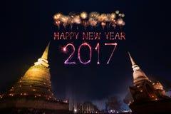 2017 gelukkig Nieuwjaarvuurwerk over het historische park van Sukhothai, Tha Royalty-vrije Stock Afbeelding