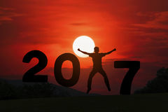 Gelukkig nieuwsjaar 2017 Stock Foto