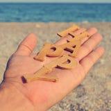 Gelukkig op het strand, met een filtereffect Stock Foto