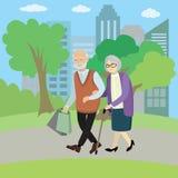 Gelukkig oud paar die in park lopen stock illustratie